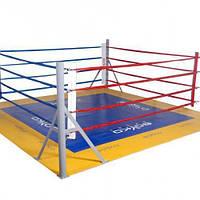 Боксерський ринг клубний поміст 4х4х0,35м канати 3х3м.
