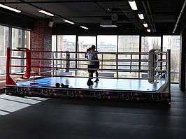 Боксерскиий ринг клубный помост 6х6х0,35м канаты 5х5м.