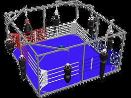 Боксерський ринг підлоговий тренувальний в кубі, килим 6х6 канати 5х5