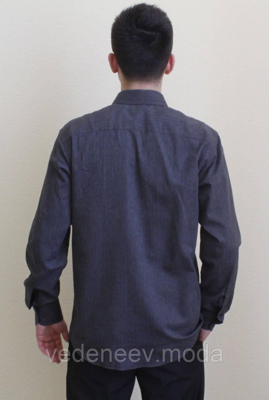 95b22194c74 Классическая мужская рубашка темно-серого цвета