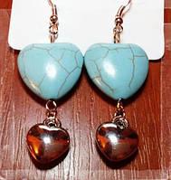 Хит продаж! Серьги в ретро стиле из тибетского серебра с бирюзой в форме сердца