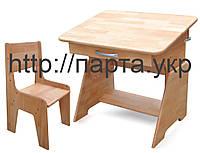 Детская Парта растишка 70 см,  бук + растущий стульчик, фото 1