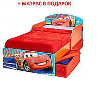 Детская кроватка с практичными выдвижными ящиками под кроватью, MDF, красная