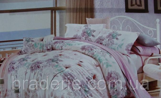 Сатиновое постельное белье евро ELWAY 4142, фото 2
