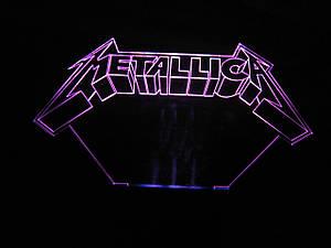 3d-светильник Металлика, Metallica, 3д-ночник, несколько подсветок (на батарейке), подарок музыканту рок