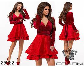 Нарядное платье из бархата и кружева с двойного гипюра с подкладкой  / 5 цветов  арт 7866-611