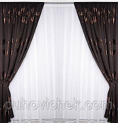 Богатый комплект штор для гостинной шоколадного цвета