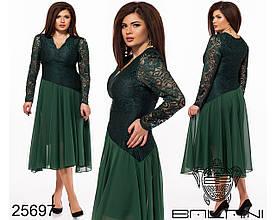 Нарядное платье больших размеров 48+ из комбинированных тканей, верх кружево / 5 цветов  арт 7867-611