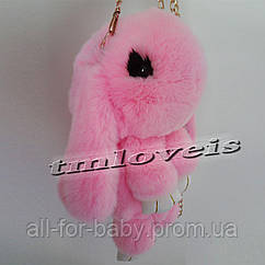 100% Натуральный Меховой Рюкзак-Сумка Кролик (нежно-розовый)