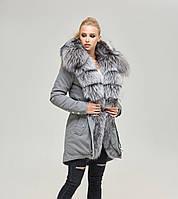 Зимняя женская парка джинс ML серый мех