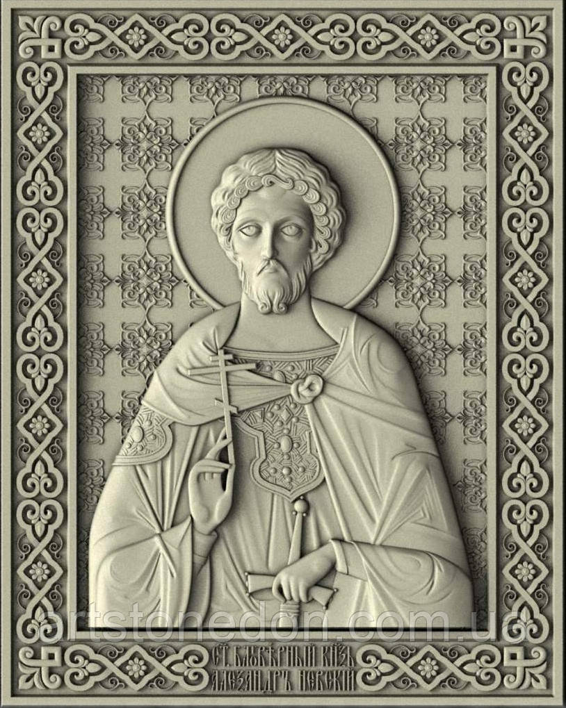 Икона резная Святой Александр Невский №3