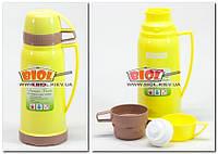 Термос 600мл пластиковий зі скляною колбою і двома чашками (колір - жовтий) Kamille KM-2073-2, фото 1