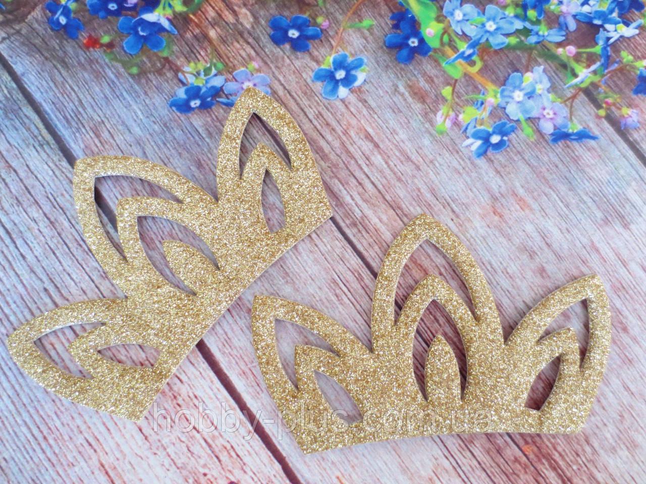 """Аплікація """"Корона з дрібним глітером"""", колір золото, 10,5х6,8 см, 1 шт."""