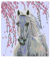 Белая лошадь 2 Набор для вышивки крестом с печатью на ткани 14ст