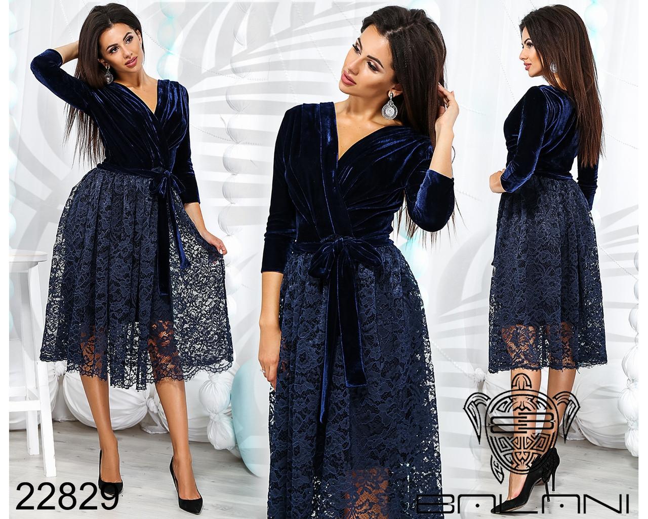 Нарядное платье, верх бархат, низ гипюр с подкладкой / 3 цвета  арт 7883-611