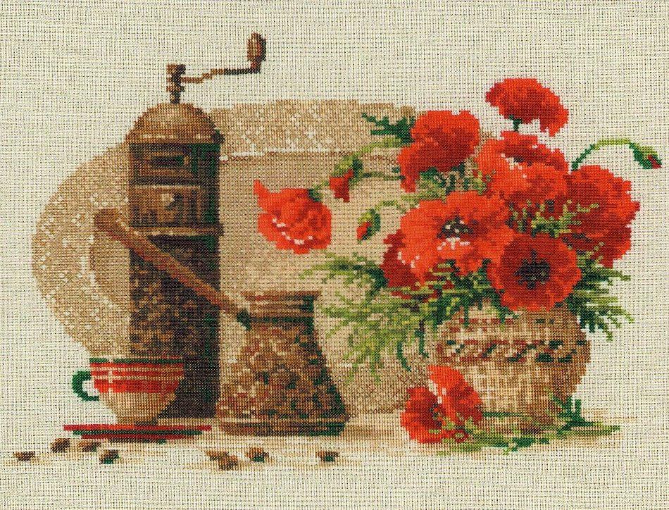 Кофе и маки J107 Набор для вышивки крестом с печатью на ткани 14ст