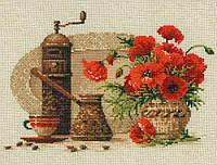 Кофе и маки  Набор для вышивки крестом с печатью на ткани 14ст