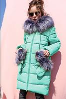 Детское зимнее пальто Мелитта-К цвет мята