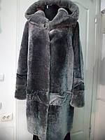 Шуба из овчины мутон трапеция с капюшоном цвет-графит  длина 90см 50р-54 60р-66р