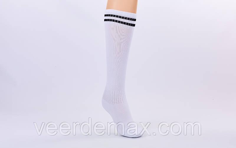 Гетры футбольные детские размер 27-35 цвет - белые с черными полосками