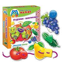 Малятко. Шнурівка+гудзики. Фрукти-Овочі VT1307-12 , Vladi Toys