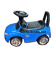 Каталка-толокар 2-006 - цвет синий открывается капот, сиденье, светятся фары, руль музыкальный