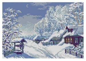 Зима деревенька F435 Набор для вышивки крестом канва 14ст