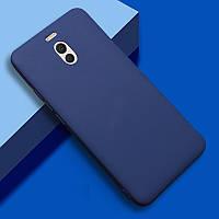 Чехол Meizu M6 Note силикон soft touch бампер темно-синий