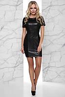Стройнящее Замшевое Платье с Широкой Вставкой из Эко-Кожи Черное S-XL, фото 1