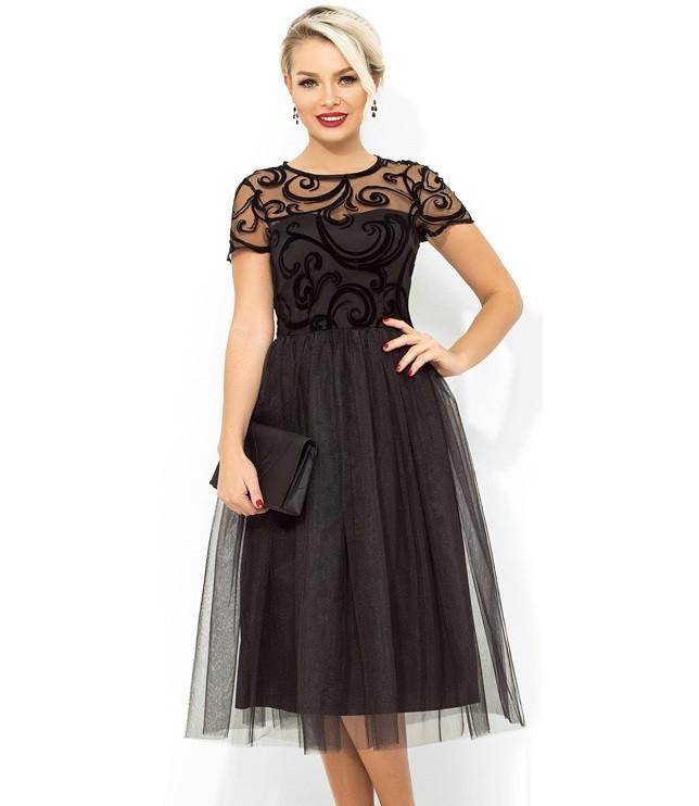 4325f6fdcb35cd1 Платье беби долл с фатиновой юбкой темно-синее Д-1672 - Lace Secret -