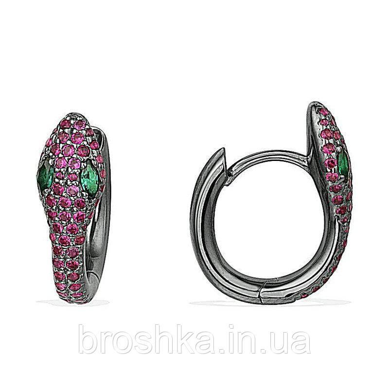 Черные серьги кольца змея с розовыми камнями ювелирная бижутерия