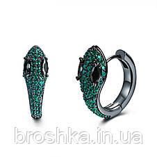 Серьги кольца в виде змеи с зелеными камнями ювелирная бижутерия, фото 2