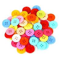 Набор из 50 пластиковых пуговиц разных цветов, 4 дырки, 17мм