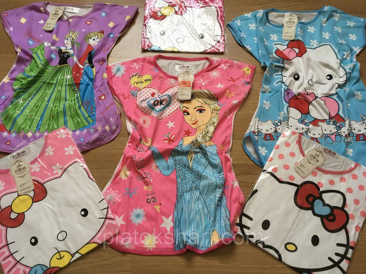 Ночная пижама для девочек, сорочка ночная ночнушка до 9 лет