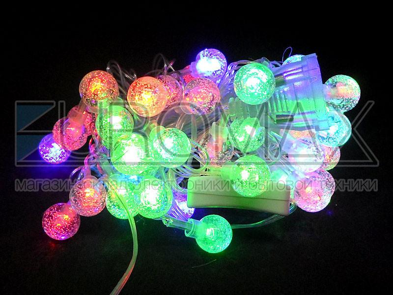 Гирлянда 40 шариков прозрачный провод (микс) 40-PLASTIC-M-3