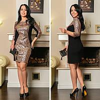 2a66cc5f04d Платье женское нарядное до колен декор пайетка креп-дайвинг батал размеры 48