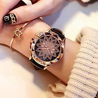 Женские часы Classic Diamonds с черным ремешком, жіночий наручний годинник, Женские наручные часы с камушками