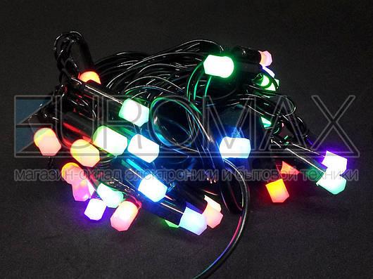 Гирлянда 40 матовых шестигранных ламп с черным проводом (микс) PLASTIC-40-7M-BLACK-LINE