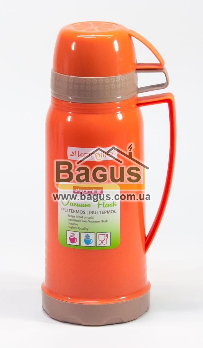 Термос 600мл со стеклянной колбой и двумя чашкой (оранжевый) Kamille KM-2073-1