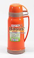 Термос 600мл со стеклянной колбой и двумя чашкой (оранжевый) Kamille KM-2073-1, фото 1