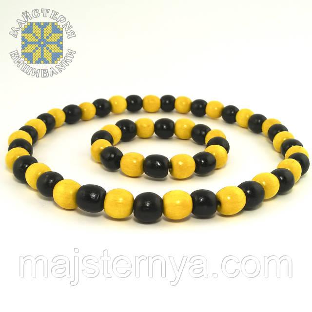 Буси та браслет чорно-жовті