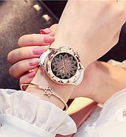 Женские часы Classic Diamonds с белым ремешком, жіночий наручний годинник, Часы женские со стразами