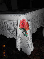 Нарядная  белая кружевная скатерть с розой Alex, фото 1