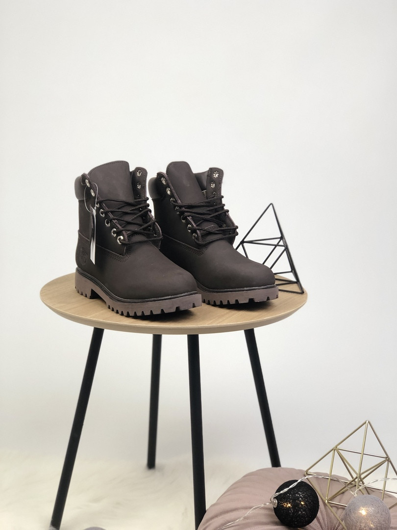 """Женские зимние ботинки Timberland """"Black"""" ( в стиле Тимберленд ) c мехом"""