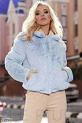 Тепла стильна мягка хутряна куртка ніжно-голуба розмір 44 46 48