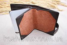 Портмоне тёмно-коричневое с отделом для паспорта, натуральная кожа, фото 3