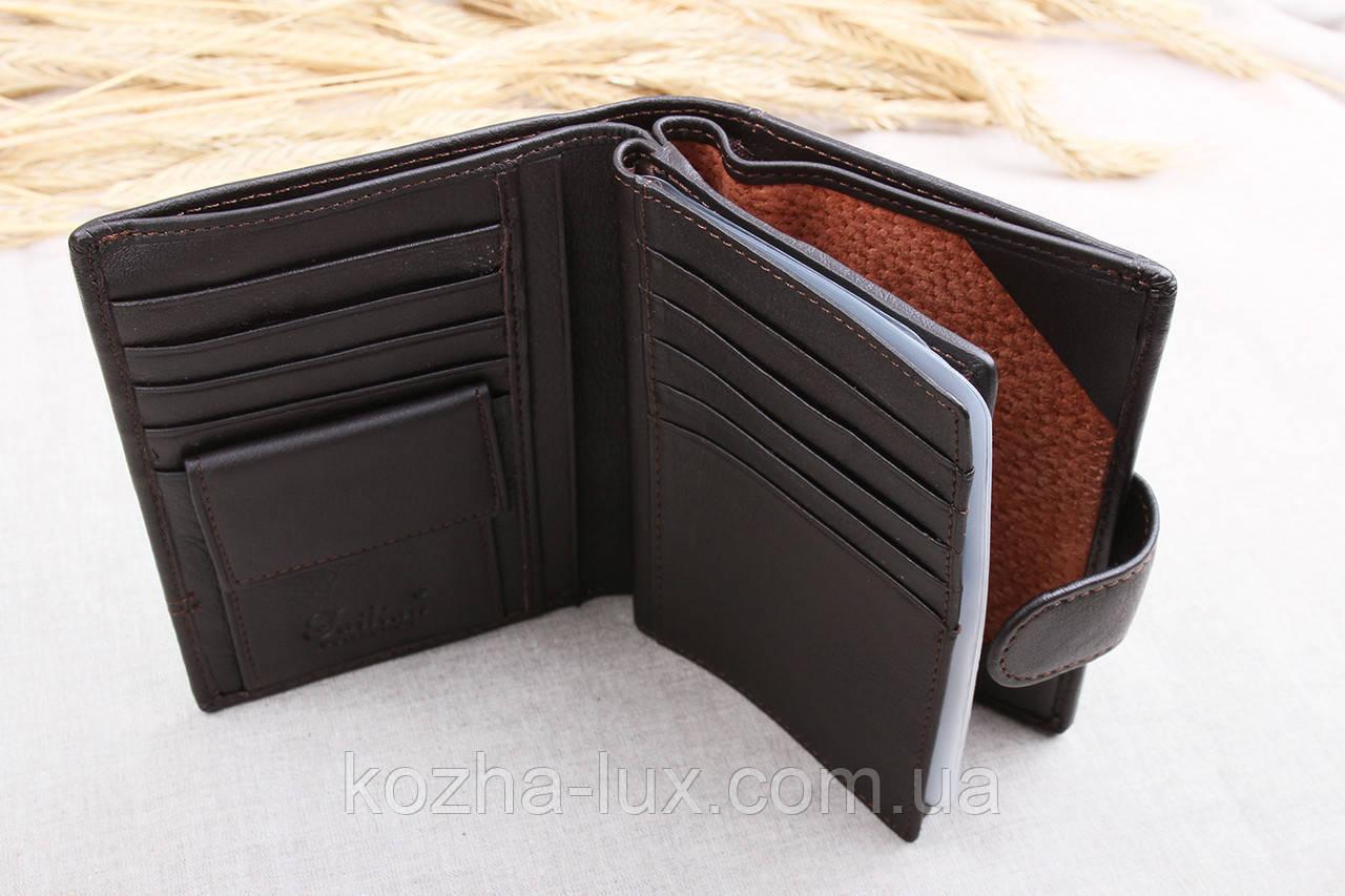Портмоне тёмно-коричневое с отделом для паспорта, натуральная кожа