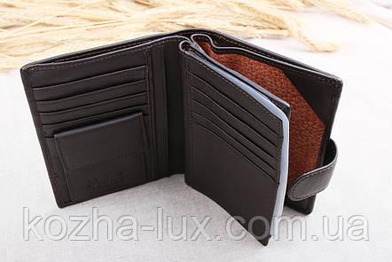 Портмоне тёмно-коричневое с отделом для паспорта, натуральная кожа, фото 2
