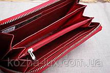 Кошелёк женский кожаный красный на молнии, натуральная кожа, фото 2