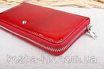 Кошелёк женский кожаный красный на молнии, натуральная кожа, фото 3